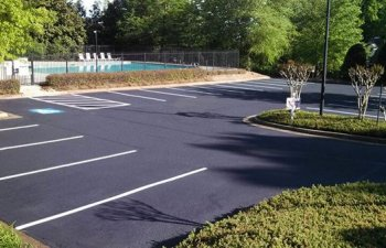 parking lot after resurfacing and striping