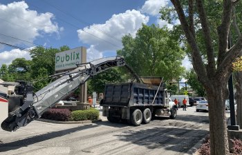 commercial parking lot asphalt overlaying